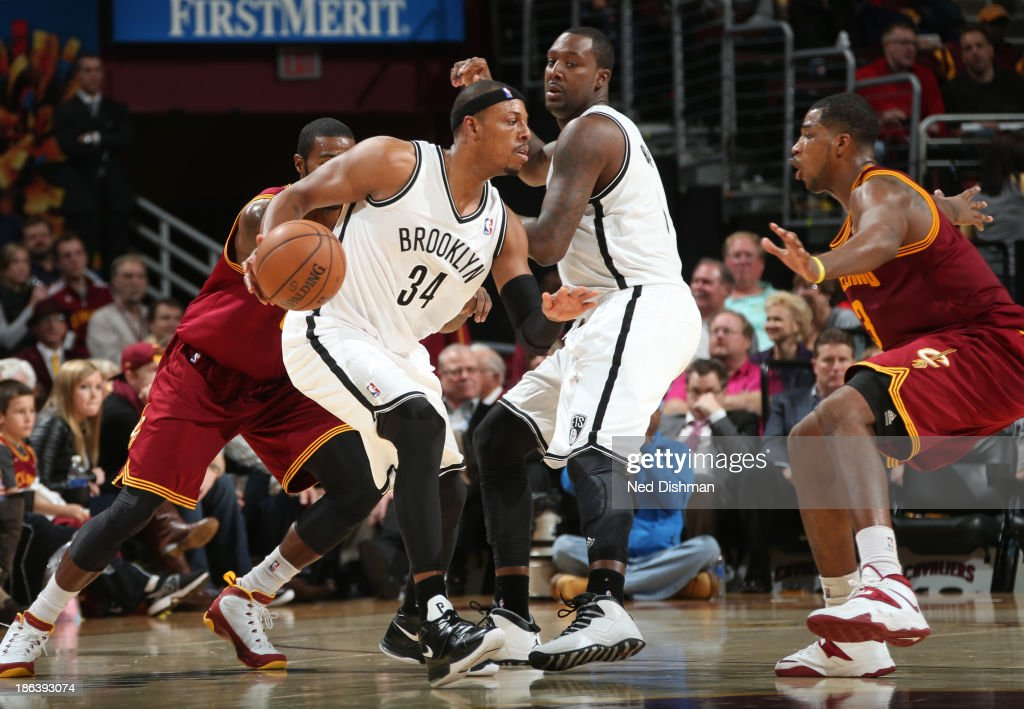 <a gi-track='captionPersonalityLinkClicked' href=/galleries/search?phrase=Paul+Pierce&family=editorial&specificpeople=201562 ng-click='$event.stopPropagation()'>Paul Pierce</a> #34 of the Brooklyn Nets drives against <a gi-track='captionPersonalityLinkClicked' href=/galleries/search?phrase=Tristan+Thompson&family=editorial&specificpeople=5799092 ng-click='$event.stopPropagation()'>Tristan Thompson</a> #13 of the Cleveland Cavaliers during a game at the Quicken Loans Arena on October 30, 2013 in Cleveland, Ohio.