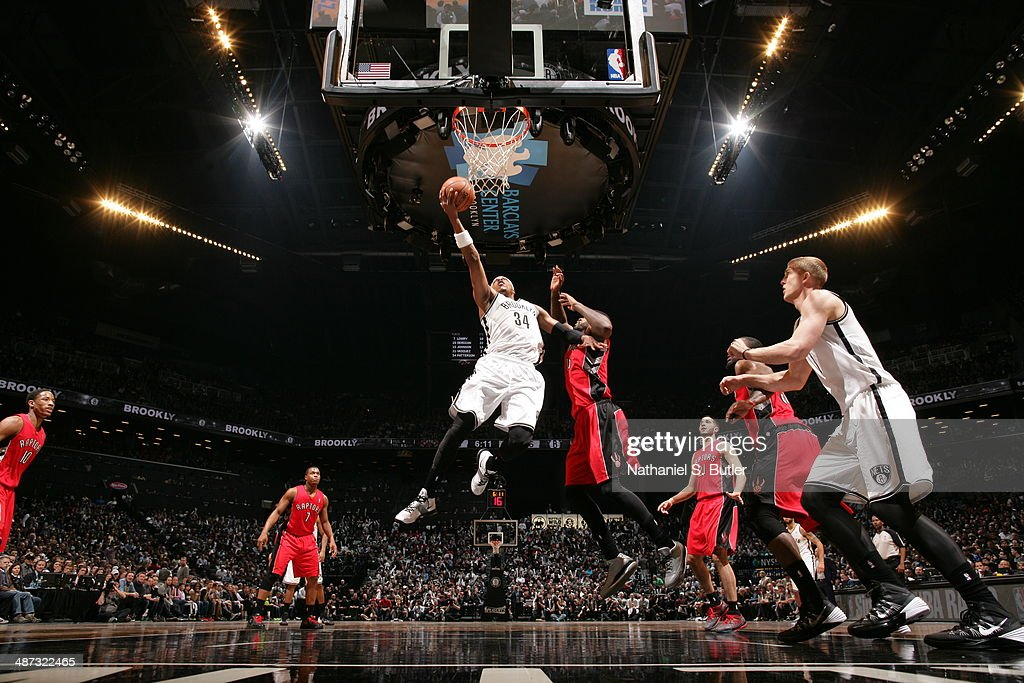 <a gi-track='captionPersonalityLinkClicked' href=/galleries/search?phrase=Paul+Pierce&family=editorial&specificpeople=201562 ng-click='$event.stopPropagation()'>Paul Pierce</a> #34 of the Brooklyn Nets drives to the basket against the Toronto Raptors during Game Four of the Eastern Conference Quarterfinals at Barclays Center in Brooklyn.