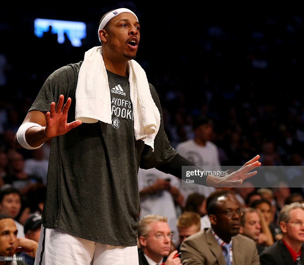 Paul Pierce #34 of the Brooklyn Nets encourages his teammates in the second half against the Miami Heat in Game Three of the Eastern Conference Semifinals during the 2014 NBA Playoffs at the Barclays Center on May 10, 2014 in the Brooklyn borough of New York City. The Brooklyn Nets defeated the Miami Heat 104-90.