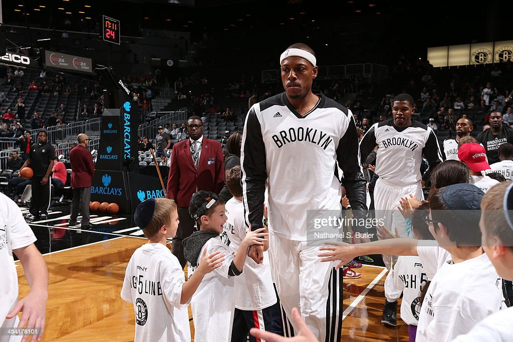 <a gi-track='captionPersonalityLinkClicked' href=/galleries/search?phrase=Paul+Pierce&family=editorial&specificpeople=201562 ng-click='$event.stopPropagation()'>Paul Pierce</a> #34 of the Brooklyn Nets gets ready for the game against the Utah Jazz during a game at Barclays Center on November 5, 2013 in the Brooklyn borough of New York City.