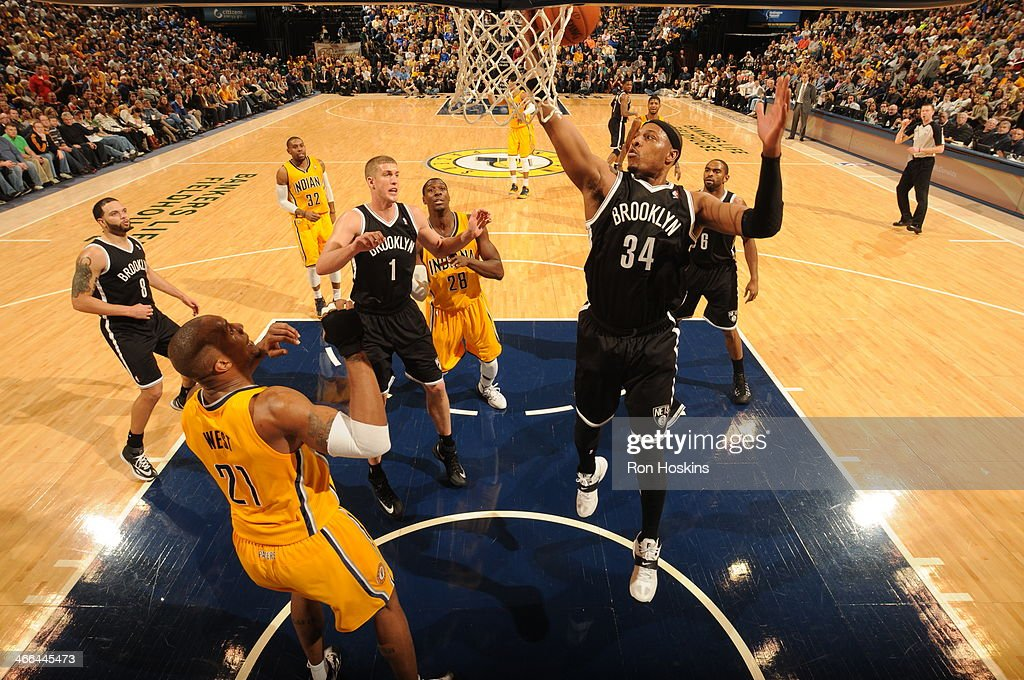 <a gi-track='captionPersonalityLinkClicked' href=/galleries/search?phrase=Paul+Pierce&family=editorial&specificpeople=201562 ng-click='$event.stopPropagation()'>Paul Pierce</a> #34 of the Brooklyn Nets grabs a rebound against the Indiana Pacers at Bankers Life Fieldhouse on February 1, 2014 in Indianapolis, Indiana.