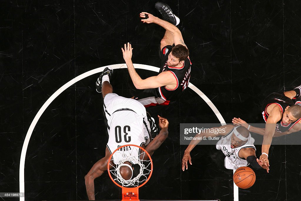 <a gi-track='captionPersonalityLinkClicked' href=/galleries/search?phrase=Paul+Pierce&family=editorial&specificpeople=201562 ng-click='$event.stopPropagation()'>Paul Pierce</a> #34 of the Brooklyn Nets grabs a rebound against the Portland Trail Blazers at Barclays Center on November 18, 2013 in the Brooklyn borough of New York City.