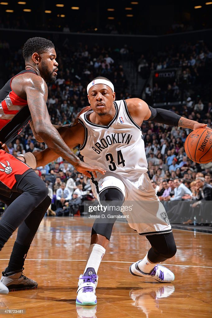 <a gi-track='captionPersonalityLinkClicked' href=/galleries/search?phrase=Paul+Pierce&family=editorial&specificpeople=201562 ng-click='$event.stopPropagation()'>Paul Pierce</a> #34 of the Brooklyn Nets handles the ball against the Toronto Raptors on March 10, 2014 at the Barclays Center in Brooklyn, New York.