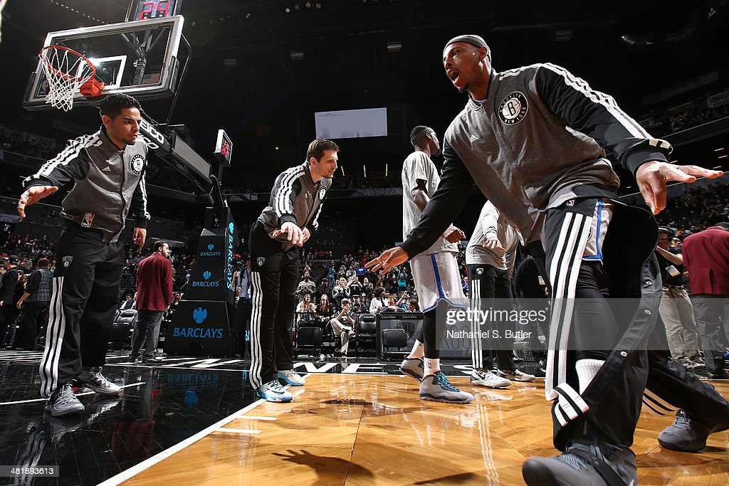 <a gi-track='captionPersonalityLinkClicked' href=/galleries/search?phrase=Paul+Pierce&family=editorial&specificpeople=201562 ng-click='$event.stopPropagation()'>Paul Pierce</a> #34 of the Brooklyn Nets is introduced before a game against the Boston Celtics at the Barclays Center on March 21, 2014 in the Brooklyn borough of New York City.