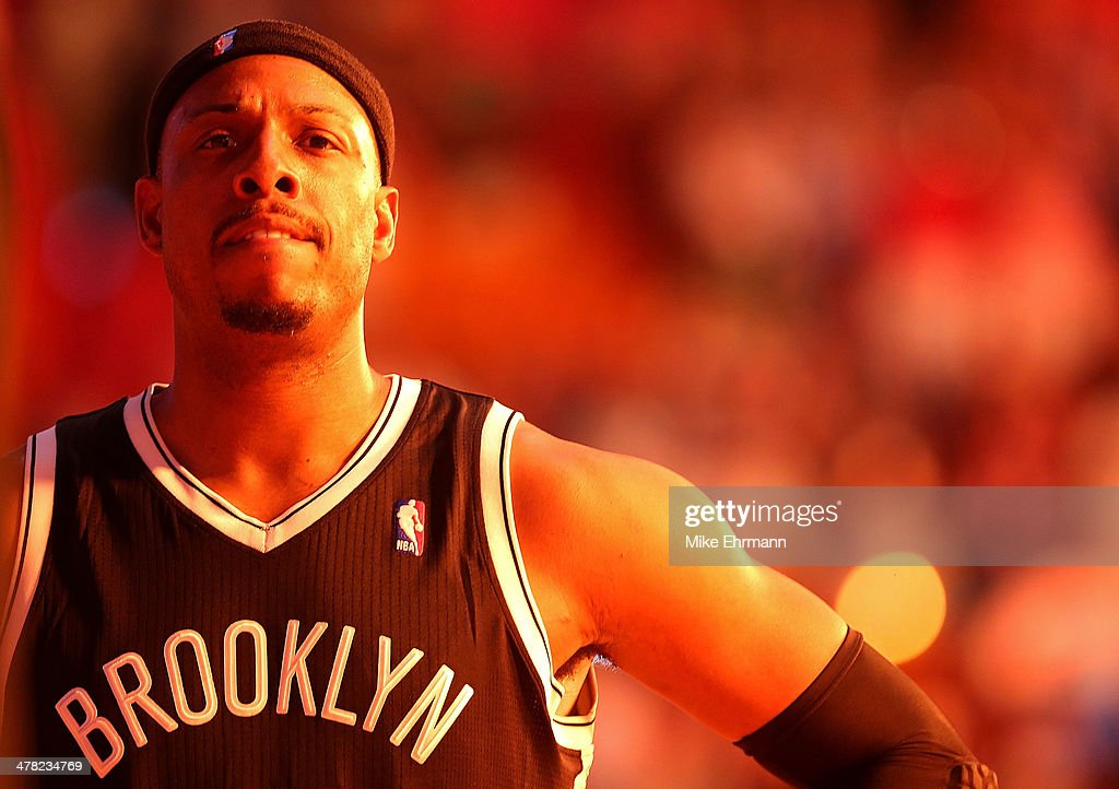 <a gi-track='captionPersonalityLinkClicked' href=/galleries/search?phrase=Paul+Pierce&family=editorial&specificpeople=201562 ng-click='$event.stopPropagation()'>Paul Pierce</a> #34 of the Brooklyn Nets looks on during a game against the Miami Heat at American Airlines Arena on March 12, 2014 in Miami, Florida.