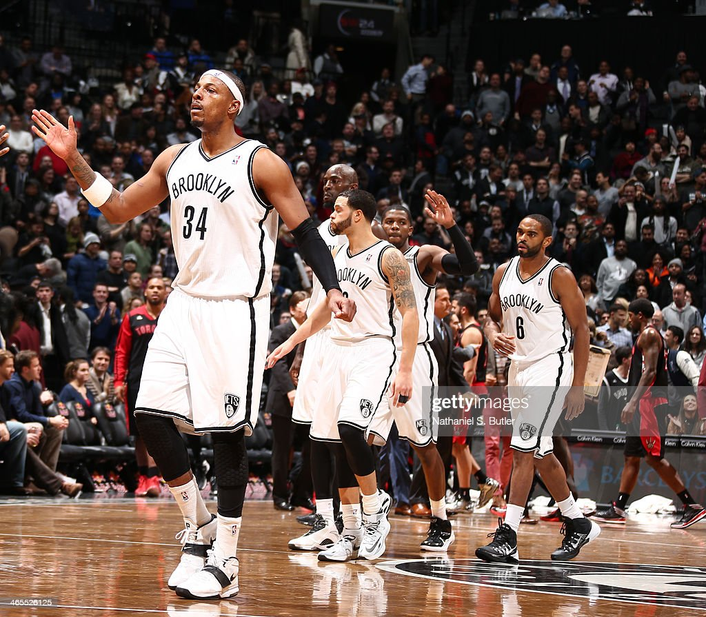 <a gi-track='captionPersonalityLinkClicked' href=/galleries/search?phrase=Paul+Pierce&family=editorial&specificpeople=201562 ng-click='$event.stopPropagation()'>Paul Pierce</a> #34 of the Brooklyn Nets reacts against the Toronto Raptors during a game at Barclays Center in Brooklyn.