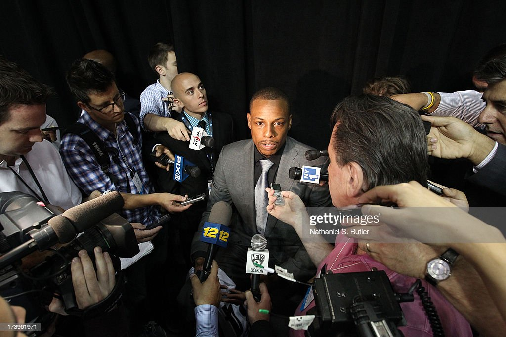 <a gi-track='captionPersonalityLinkClicked' href=/galleries/search?phrase=Paul+Pierce&family=editorial&specificpeople=201562 ng-click='$event.stopPropagation()'>Paul Pierce</a> #34 of the Brooklyn Nets responds to media during a press conference at the Barclays Center on July 18, 2013 in the Brooklyn borough of New York City.