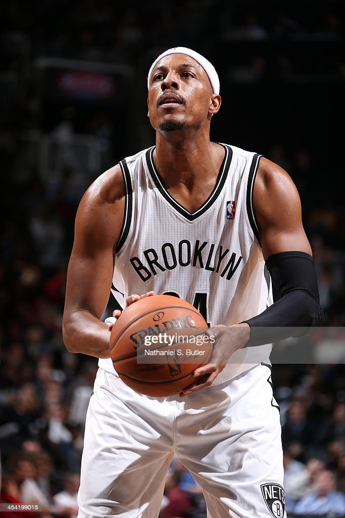 <a gi-track='captionPersonalityLinkClicked' href=/galleries/search?phrase=Paul+Pierce&family=editorial&specificpeople=201562 ng-click='$event.stopPropagation()'>Paul Pierce</a> #34 of the Brooklyn Nets shoots a free throw during the game against the Portland Trail Blazers at Barclays Center on November 18, 2013 in the Brooklyn borough of New York City.