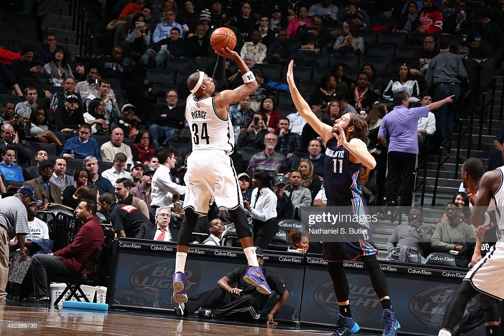 <a gi-track='captionPersonalityLinkClicked' href=/galleries/search?phrase=Paul+Pierce&family=editorial&specificpeople=201562 ng-click='$event.stopPropagation()'>Paul Pierce</a> #34 of the Brooklyn Nets shoots against the Charlotte Bobcats at the Barclays Center on February 12, 2014 in the Brooklyn borough of New York City.