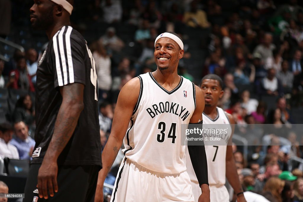 <a gi-track='captionPersonalityLinkClicked' href=/galleries/search?phrase=Paul+Pierce&family=editorial&specificpeople=201562 ng-click='$event.stopPropagation()'>Paul Pierce</a> #34 of the Brooklyn Nets smiles against the Boston Celtics during a preseason game at the Barclays Center on October 15, 2013 in the Brooklyn borough of New York City.
