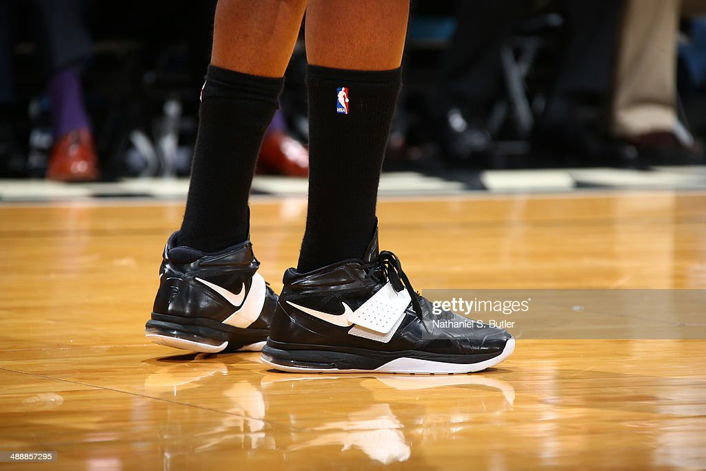 <a gi-track='captionPersonalityLinkClicked' href=/galleries/search?phrase=Paul+Pierce&family=editorial&specificpeople=201562 ng-click='$event.stopPropagation()'>Paul Pierce</a> #34 of the Brooklyn Nets sneakers against the Miami Heat during Game Two of the Eastern Conference Semifinals of the 2014 NBA playoffs at American Airlines Arena in Miami, Florida on May 8, 2014.