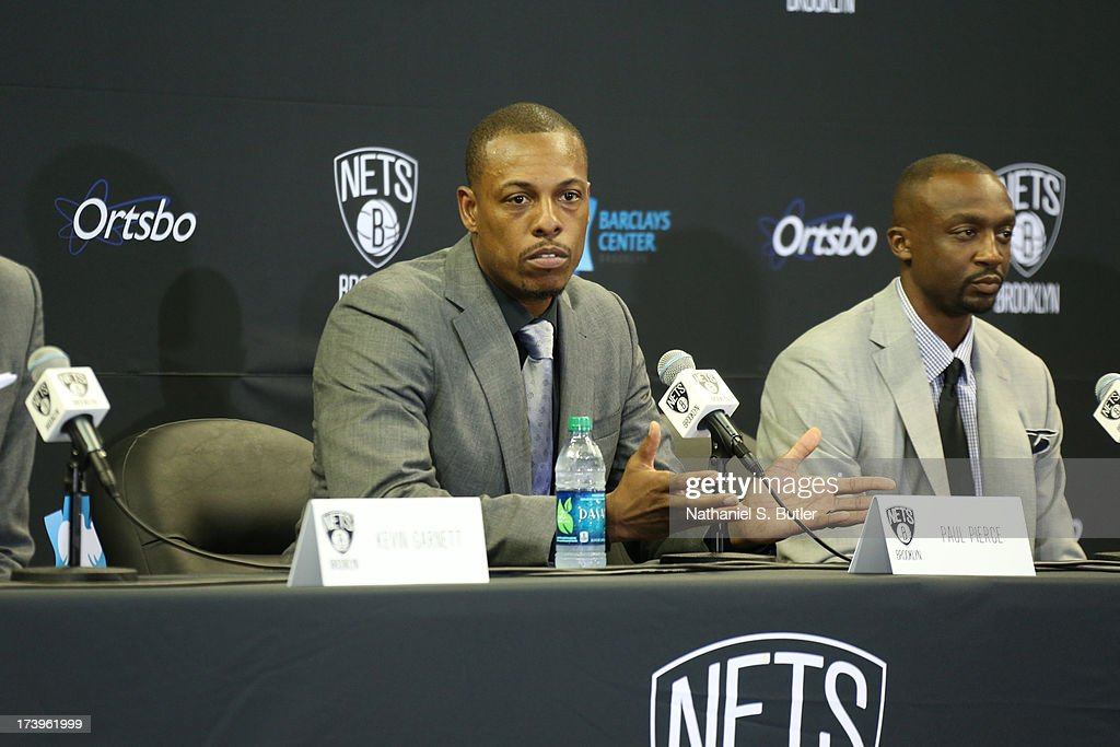 Paul Pierce #34 of the Brooklyn Nets speaks to the media during a press conference at the Barclays Center on July 18, 2013 in the Brooklyn borough of New York City.
