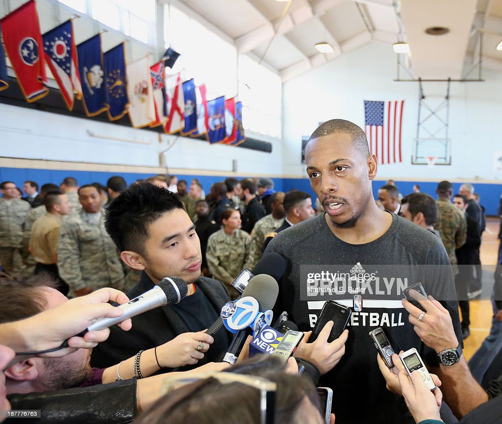 Paul Pierce #34 of the Brooklyn Nets speaks to the media during a team event in celebration of Veterans Day at Ft. Hamilton, Brooklyn on November 11, 2013 in the Brooklyn borough of New York City.