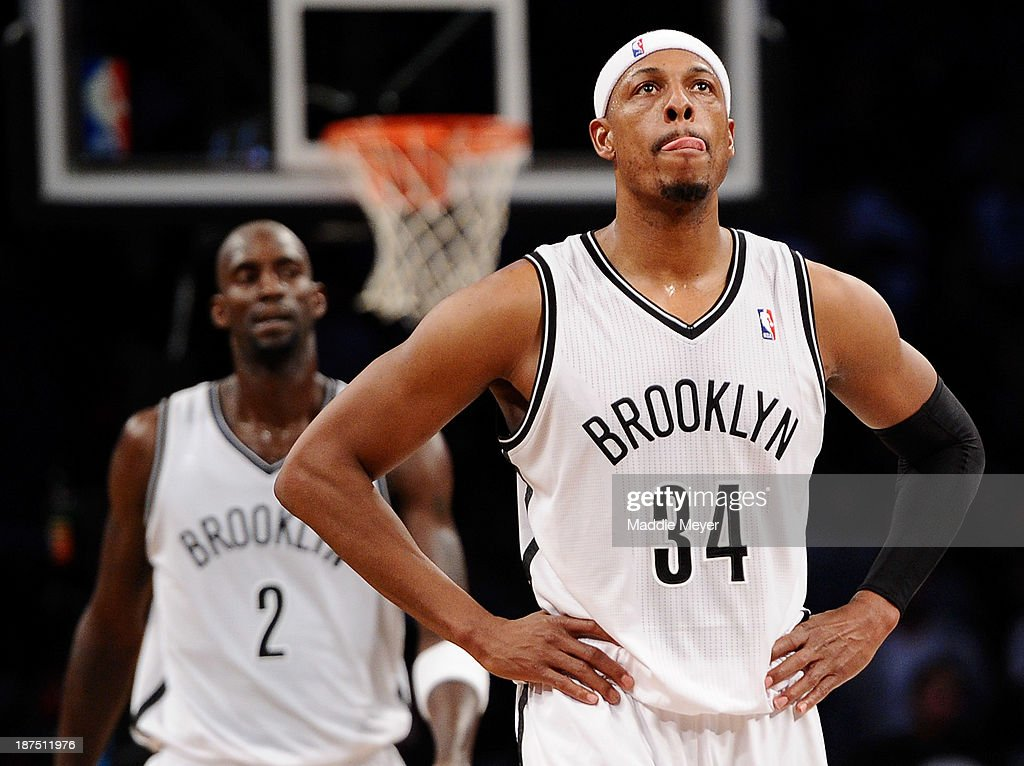 Paul Pierce #34 of the Brooklyn Nets walks downcourt in front of Kevin Garnett #2 during the fourth quarter against the Indiana Pacers at Barclays Center on November 9, 2013 in the Brooklyn borough of New York City. The Pacers defeat the Nets 96-91.