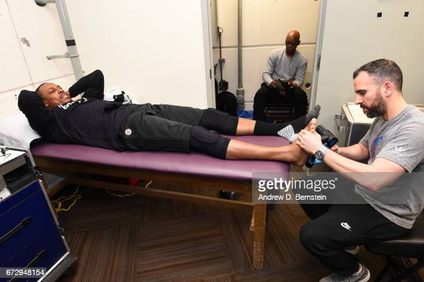 Paul Pierce of the LA Clippers gets treatment before Game Four of the Western Conference Quarterfinals against the Utah Jazz of the 2017 NBA Playoffs...