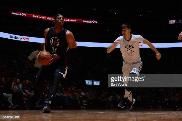 Paul Pierce of the LA Clippers handles the ball against Juancho Hernangomez of the Denver Nuggets during the game on March 16 2017 at the Pepsi...