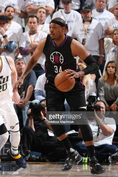 Paul Pierce of the LA Clippers handles the ball against the Utah Jazz during Game Three of the Western Conference Quarterfinals of the 2017 NBA...