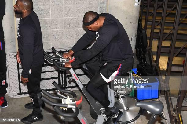 Paul Pierce of the LA Clippers rides the stationary bike in the hallway before Game Four of the Western Conference Quarterfinals against the Utah...