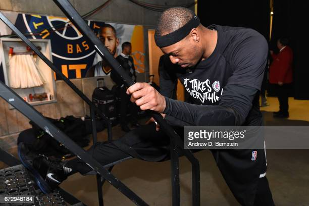 Paul Pierce of the LA Clippers stretches in the hallway before Game Four of the Western Conference Quarterfinals against the Utah Jazz of the 2017...