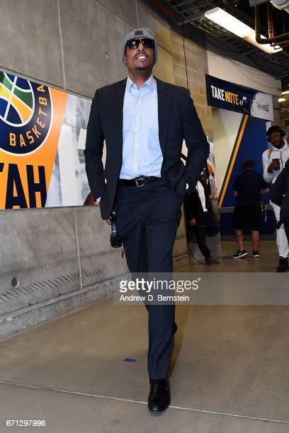 Paul Pierce of the Los Angeles Clippers arrivals during the Western Conference Quarterfinals of the 2017 NBA Playoffs on April 21 2017 at Vivint...