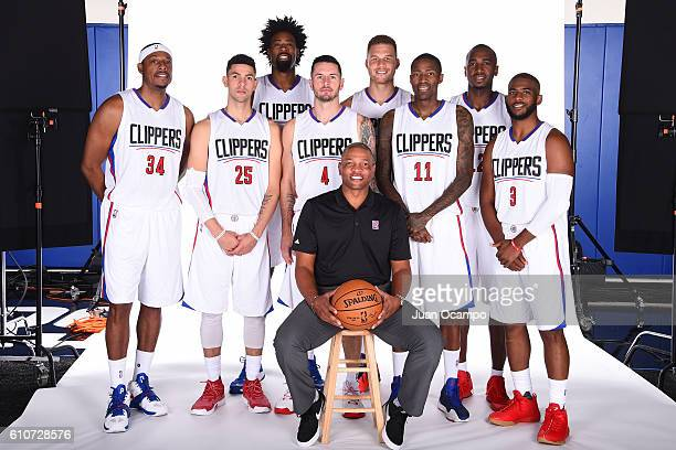 Paul Pierce of the Los Angeles Clippers Austin Rivers of the Los Angeles Clippers DeAndre Jordan of the Los Angeles Clippers JJ Redick of the Los...
