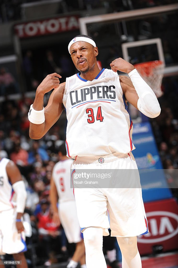 <a gi-track='captionPersonalityLinkClicked' href=/galleries/search?phrase=Paul+Pierce&family=editorial&specificpeople=201562 ng-click='$event.stopPropagation()'>Paul Pierce</a> #34 of the Los Angeles Clippers celebrates during the game against the Denver Nuggets at STAPLES Center on October 02, 2015 in Los Angeles, California.