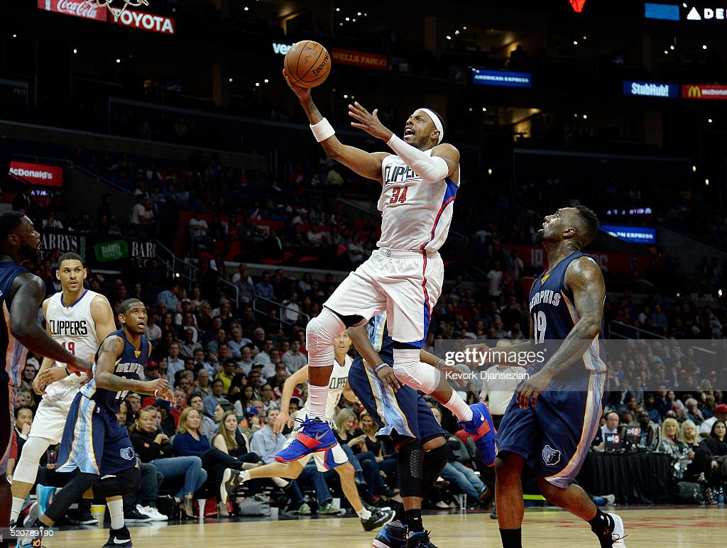<a gi-track='captionPersonalityLinkClicked' href=/galleries/search?phrase=Paul+Pierce&family=editorial&specificpeople=201562 ng-click='$event.stopPropagation()'>Paul Pierce</a> #34 of the Los Angeles Clippers drives to the basket against <a gi-track='captionPersonalityLinkClicked' href=/galleries/search?phrase=P.J.+Hairston&family=editorial&specificpeople=7621185 ng-click='$event.stopPropagation()'>P.J. Hairston</a> #19 of the Memphis Grizzlies during the second half of the basketball game at Staples Center April 12, 2016, in Los Angeles, California.