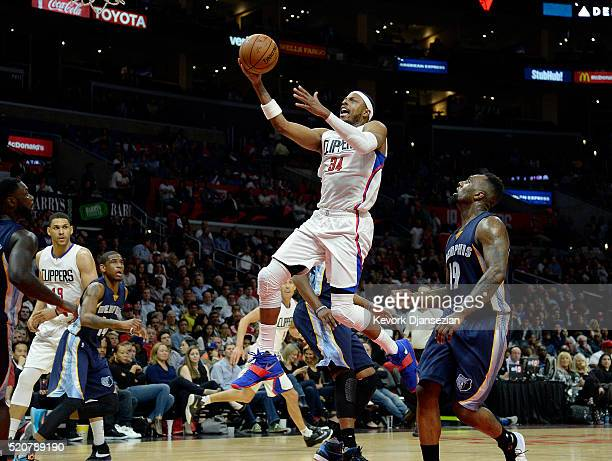 Paul Pierce of the Los Angeles Clippers drives to the basket against PJ Hairston of the Memphis Grizzlies during the second half of the basketball...