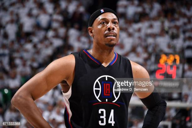 Paul Pierce of the Los Angeles Clippers looks on during the game against the Utah Jazz during the Western Conference Quarterfinals of the 2017 NBA...