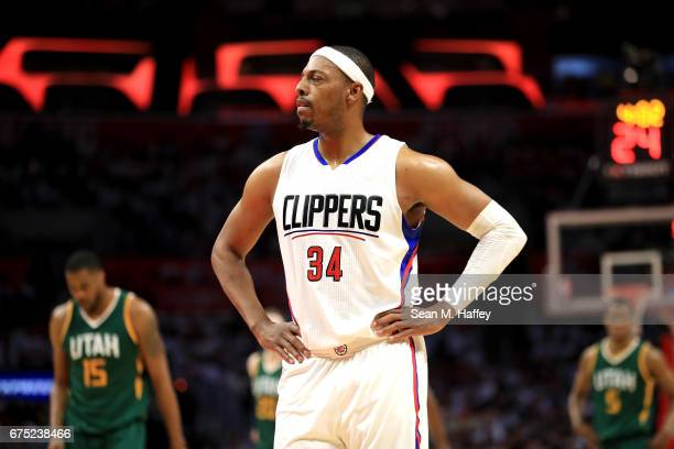 Paul Pierce of the Los Angeles Clippers looks on during the second half of Game Seven of the Western Conference Quarterfinals against the Utah Jazz...