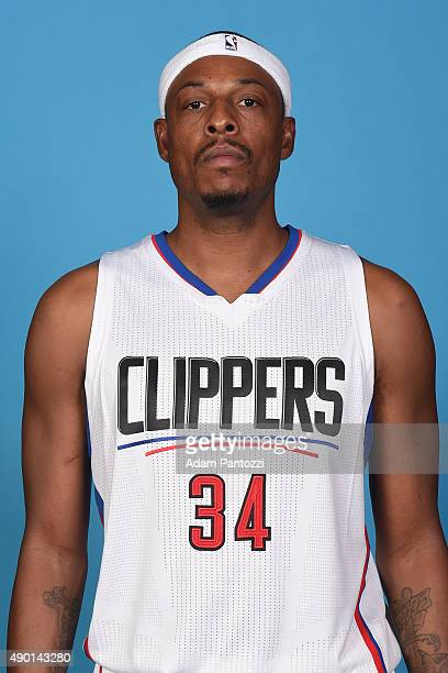 Paul Pierce of the Los Angeles Clippers poses for a headshot during media day at the Los Angeles Clippers Training Center on September 25 2015 in...