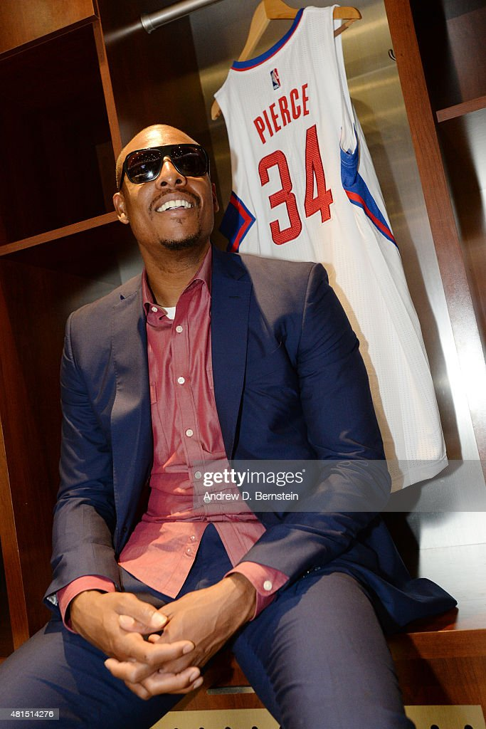 <a gi-track='captionPersonalityLinkClicked' href=/galleries/search?phrase=Paul+Pierce&family=editorial&specificpeople=201562 ng-click='$event.stopPropagation()'>Paul Pierce</a> #34 of the Los Angeles Clippers sits in the locker room before the press conference at STAPLES Center on July 21, 2015 in Los Angeles, California.