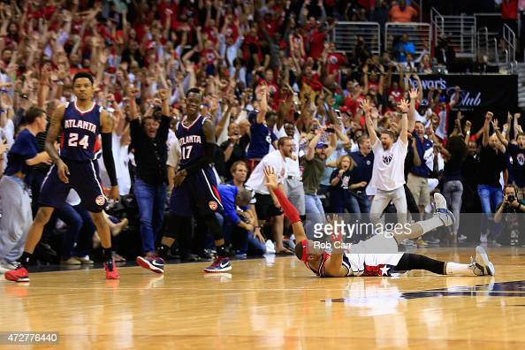 Paul Pierce of the Washington Wizards celebrates after hitting the game winning shot to give the Wizards a 103101 win over the Atlanta Hawks during...