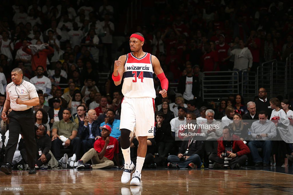 <a gi-track='captionPersonalityLinkClicked' href=/galleries/search?phrase=Paul+Pierce&family=editorial&specificpeople=201562 ng-click='$event.stopPropagation()'>Paul Pierce</a> #34 of the Washington Wizards celebrates against the Toronto Raptors in Game Three of the Eastern Conference Quarterfinals during the 2015 NBA Playoffs on April 24, 2015 at Verizon Center in Washington, DC.