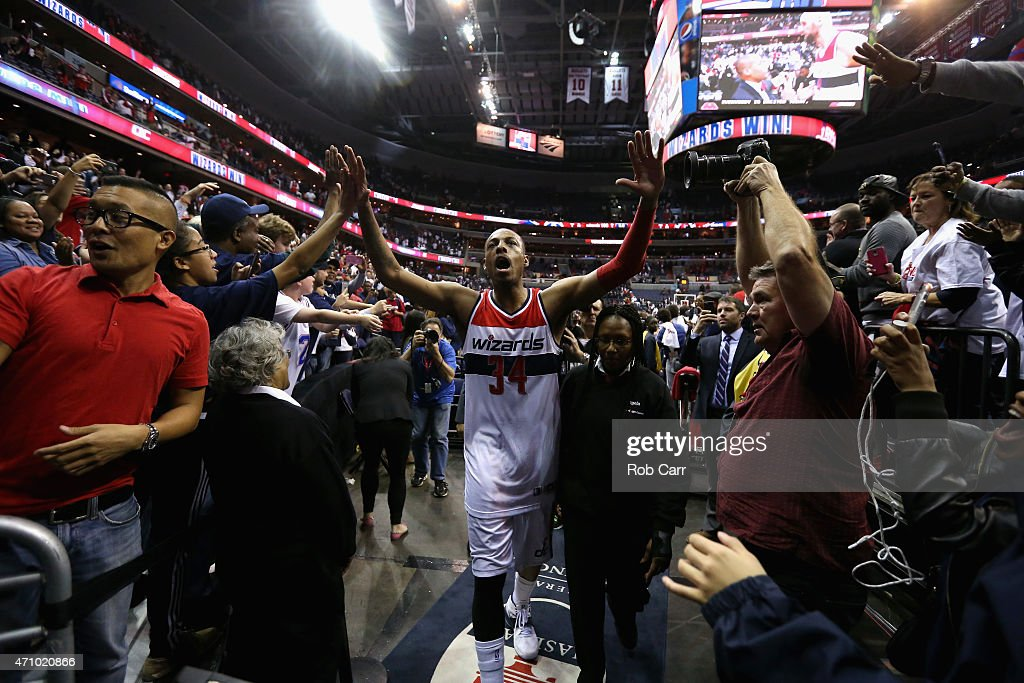 Paul Pierce #34 of the Washington Wizards celebrates their 106-99 win over the Toronto Raptors during Game Three of the Eastern Conference Quarterfinals of the NBA playoffs at Verizon Center on April 24, 2015 in Washington, DC.