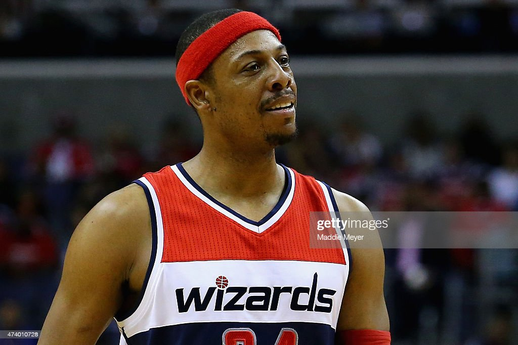 <a gi-track='captionPersonalityLinkClicked' href=/galleries/search?phrase=Paul+Pierce&family=editorial&specificpeople=201562 ng-click='$event.stopPropagation()'>Paul Pierce</a> #34 of the Washington Wizards looks on during the second half against the Atlanta Hawks at Verizon Center on May 15, 2015 in Washington, DC. The Hawks defeat the Wizards 94-91.