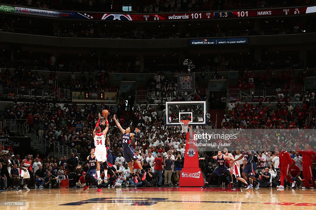 <a gi-track='captionPersonalityLinkClicked' href=/galleries/search?phrase=Paul+Pierce&family=editorial&specificpeople=201562 ng-click='$event.stopPropagation()'>Paul Pierce</a> #34 of the Washington Wizards makes the game winning shot as the clock runs out against the Atlanta Hawks in Game Three of the Eastern Conference Semifinals of the 2015 NBA Playoffs at the Verizon Center on May 9, 2015 in Washington, DC.