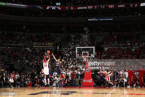 Paul Pierce of the Washington Wizards makes the game winning shot as the clock runs out against the Atlanta Hawks in Game Three of the Eastern...