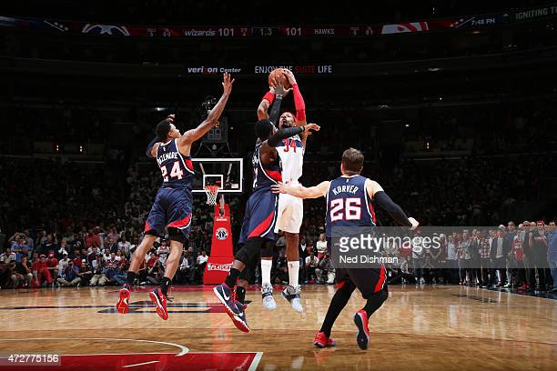 Paul Pierce of the Washington Wizards makes the game winning shot with no time left on the clock against the Atlanta Hawks in Game Three of the...