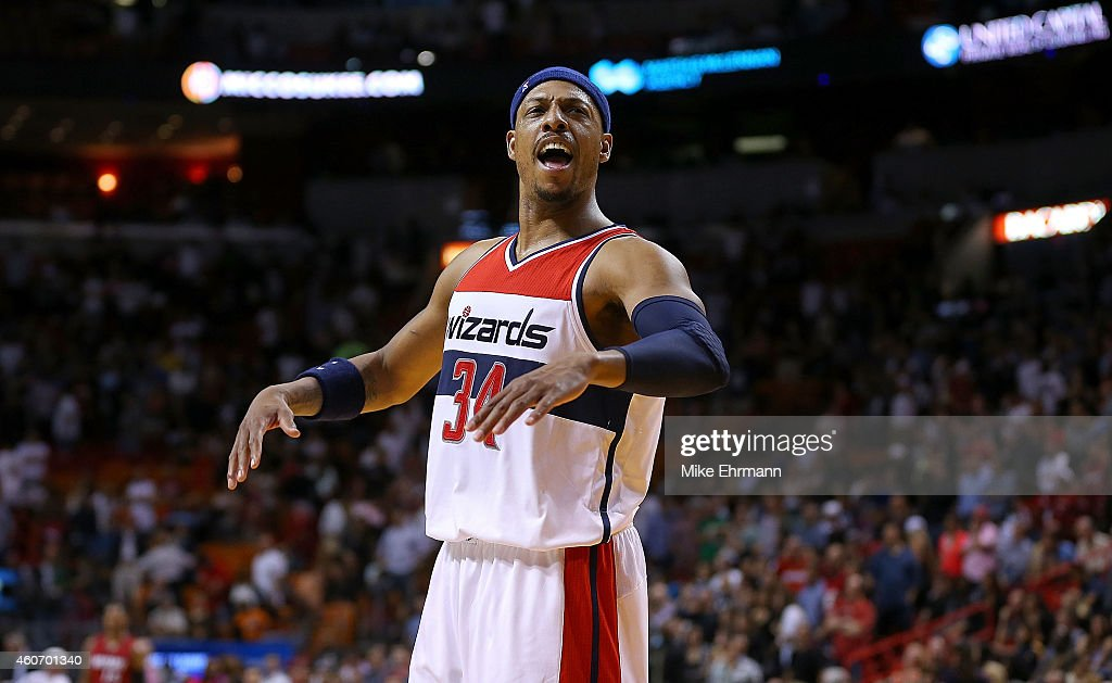 <a gi-track='captionPersonalityLinkClicked' href=/galleries/search?phrase=Paul+Pierce&family=editorial&specificpeople=201562 ng-click='$event.stopPropagation()'>Paul Pierce</a> #34 of the Washington Wizards reacts to winning a game against the Miami Heat at American Airlines Arena on December 19, 2014 in Miami, Florida.