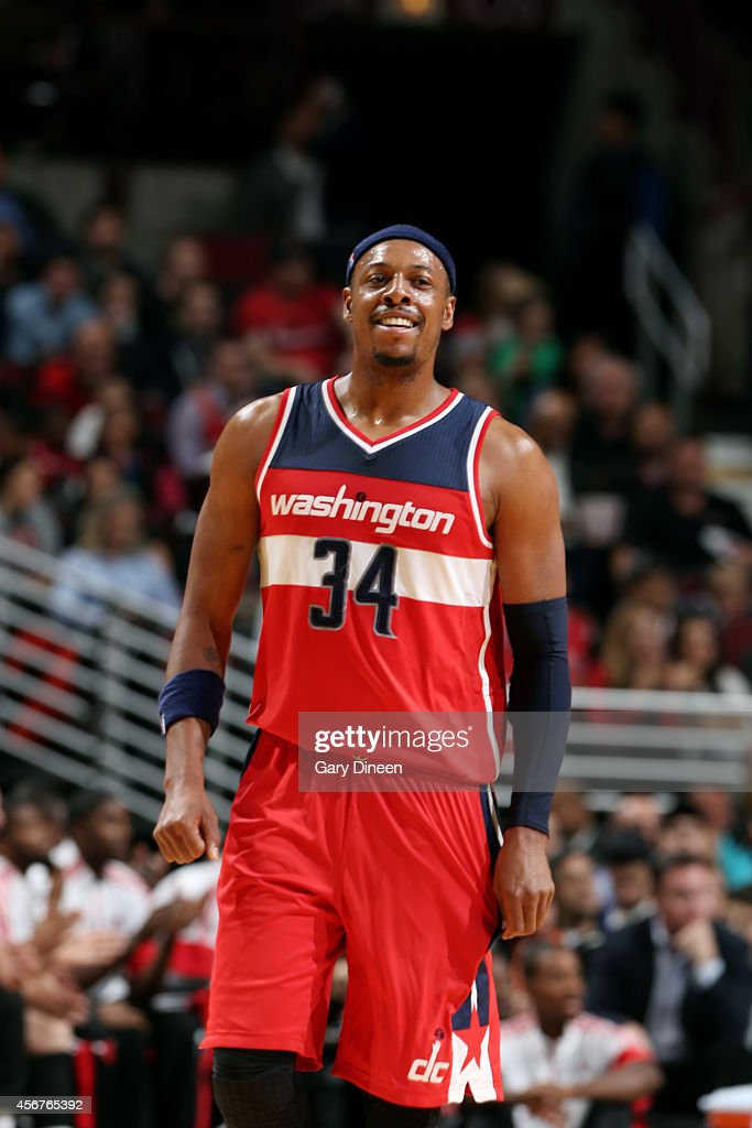 <a gi-track='captionPersonalityLinkClicked' href=/galleries/search?phrase=Paul+Pierce&family=editorial&specificpeople=201562 ng-click='$event.stopPropagation()'>Paul Pierce</a> #34 of the Washington Wizards smiles during a game against the Chicago Bulls on October 6, 2014 at the United Center in Chicago, Illinois.