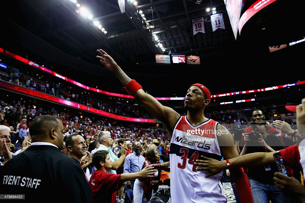 <a gi-track='captionPersonalityLinkClicked' href=/galleries/search?phrase=Paul+Pierce&family=editorial&specificpeople=201562 ng-click='$event.stopPropagation()'>Paul Pierce</a> #34 of the Washington Wizards waves to fans as he leaves the court following the Wizards 94-91 loss to the Atlanta Hawks at Verizon Center on May 15, 2015 in Washington, DC.