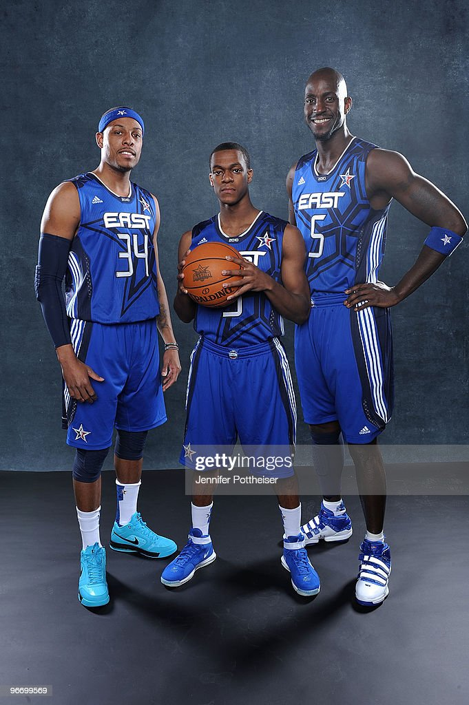 Paul Pierce #34, Rajon Rondo #9, and Kevin Garnett #5 of the Eastern Conference pose for a portrait prior to the NBA All-Star game as part of the 2010 NBA All-Star Weekend on February 14, 2010 at Cowboy Stadium in Arlington, Texas.