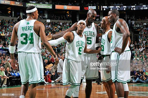Paul Pierce Rajon Rondo Kevin Garnett Ray Allen and Kendrick Perkins of the Boston Celtics huddle together in Game Three of the Eastern Conference...