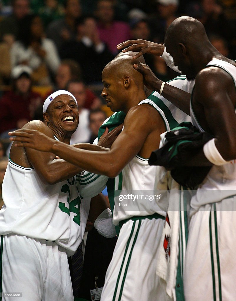 Paul Pierce #34, <a gi-track='captionPersonalityLinkClicked' href=/galleries/search?phrase=Ray+Allen&family=editorial&specificpeople=201511 ng-click='$event.stopPropagation()'>Ray Allen</a> #20 and Kevin Garnett #5 of the Boston Celtics are all smiles after they are pulled from the game late in the fourth quarter against the Atlanta Hawks on November 9, 2007 at the TD Banknorth Garden in Boston, Massachusetts. The Celtics defeated the Hawks 106-83.