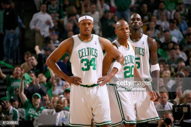 Paul Pierce Ray Allen and Kevin Garnett of the Boston Celtics line up against the Cleveland Cavaliers in Game One of the Eastern Conference...