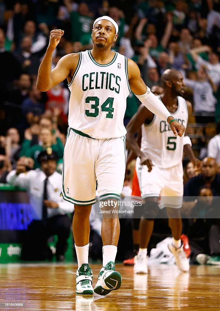 Paul Pierce #34of the Boston Celtics celebrate following his basket in the fourth quarter against the Chicago Bulls during the game on February 13, 2013 at TD Garden in Boston, Massachusetts.