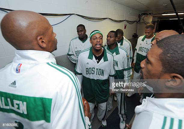 Paul Pirce of the Boston Celtics and teammates huddle in the tunnel outside their locker room prior to Game Two of the NBA Finals against the Los...