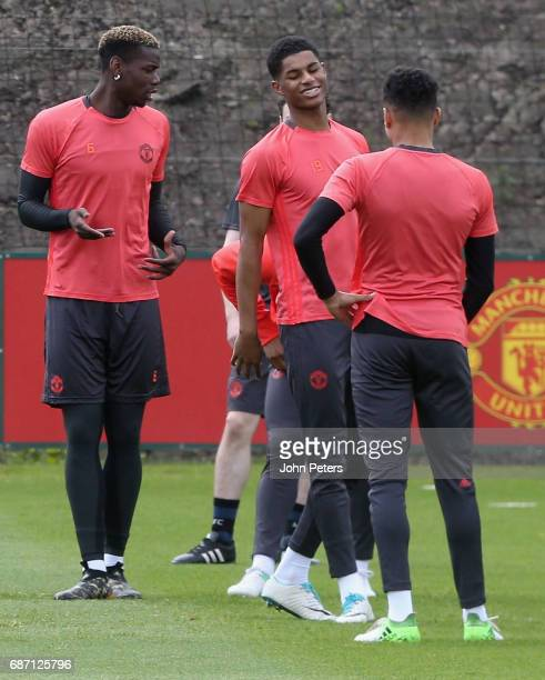Paul Pogba and Marcus Rashford of Manchester United in action during a first team training session ahead of the UEFA Europa League Final at Aon...