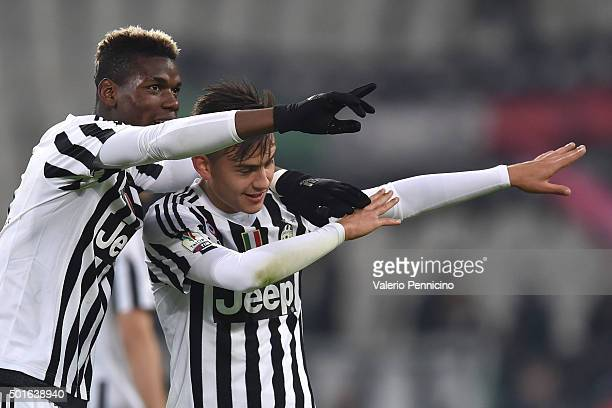Paul Pogba and Paulo Dybala of FC Juventus celebrate victory at the end of the TIM Cup match between FC Juventus and Torino FC at Juventus Arena on...
